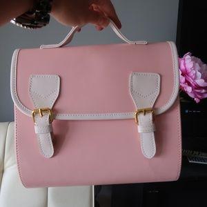 Handbags - Pastel Pink Colorblock Retro Satchel Crossbody Bag